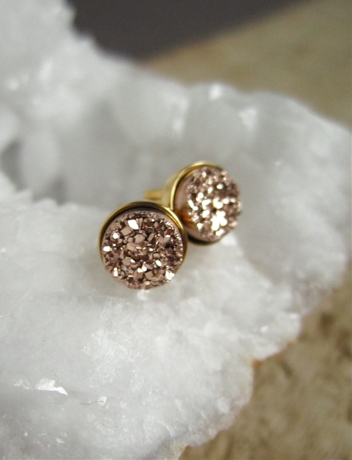 Rose Gold Druzy Earrings Rose Gold Druzy Studs Tiny Stud