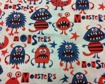 Blue and Orange Monsters - By the Yard - Cotton