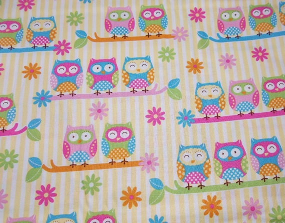 Cute Owls on branches Fabric - Cotton BTY - PRECUT