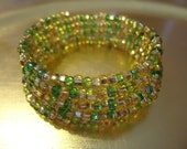 Green and Gold Memory Wire Spiral Wrap Bracelet