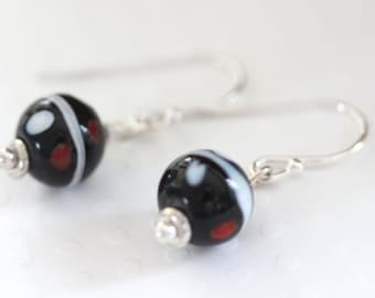 Murano Earrings Black and White and Red Venetian Earrings from Murano Italy