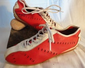 Vintage 80s Elle Sport Ventilated Red and White Tennis Sneakers unisex women / men  41