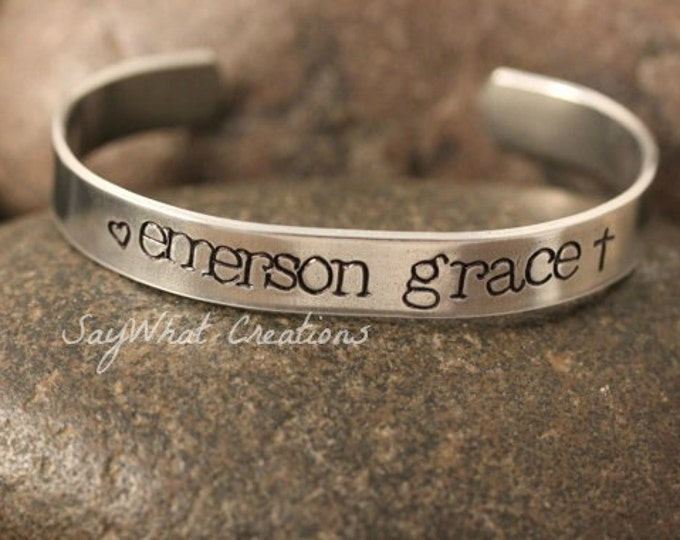 Custom Hand Stamped Cuff Bracelet Thick aluminum great for mothers grandmothers