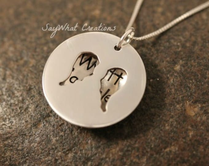 Custom Hand Stamped Sterling Silver Angel Wings Locket Necklace Remembrance and Loss Necklace
