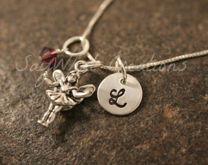 Hand Stamped Sterling Silver Fairy Charm Necklace