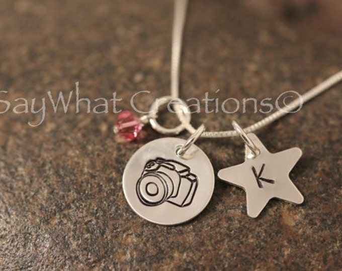 Sterling Silver Photographers Camera Necklace with Custom Hand Stamped Initial on a star