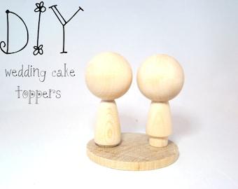 DIY Mini Kokeshi Dolls with base - Unpainted Kokeshi Dolls w First Class INT'L Shipping