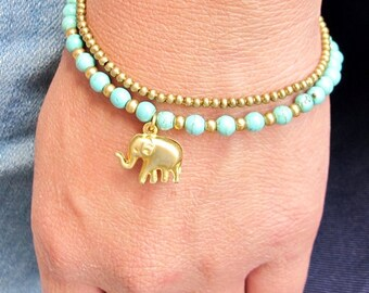 Elephant  with 4 mm Turquoise Brass Bead  Double Strand  Bracelet  Adjustable B293