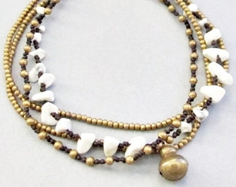 Multi Strand White Howlite and Single Brass Bell Anklet