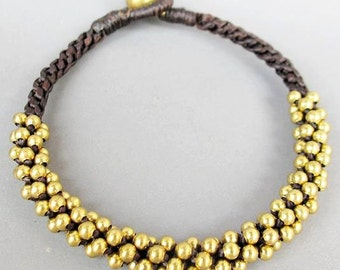 All Brass Bead Woven with Dark brown Wax Cord Bracelet