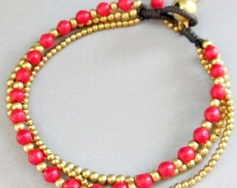 4 mm Red Coral Stone Brass Bead  Multi Line Bracelet