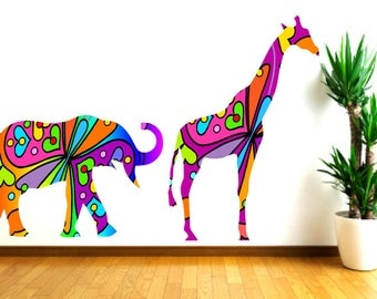 Colorful Elephant and Giraffe Wall Decals.,Nursery Decor,Girls Room Decal, Baby shower gift,Safari Animals, Kids Wall Decor,Baby Shower Gift