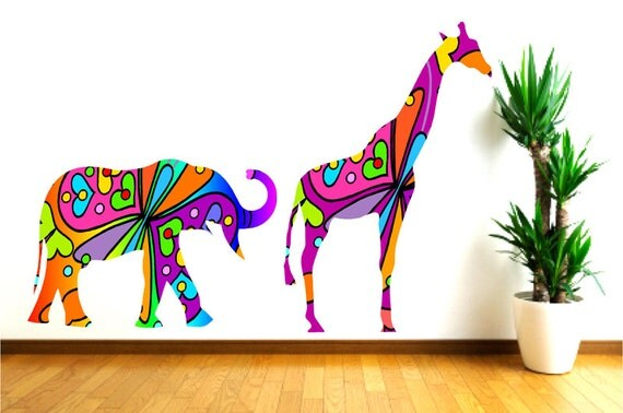 Items Similar To Colorful Elephant And Giraffe Wall Decals Nursery Decor Girls Room Decal Baby