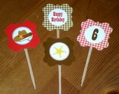 Cowboy Cupcake toppers - Set of 24