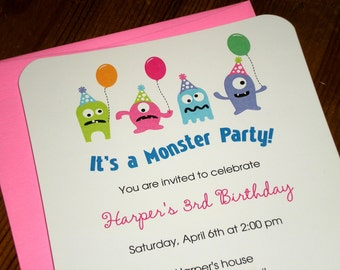 Girl Monster party : Birthday Invitations - Set of 12