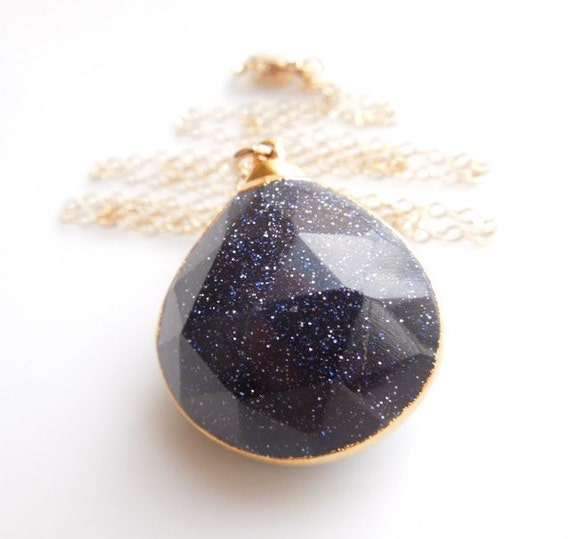 Blue Goldstone Necklace in Gold - Sparkly Jewelry - Statement Necklace