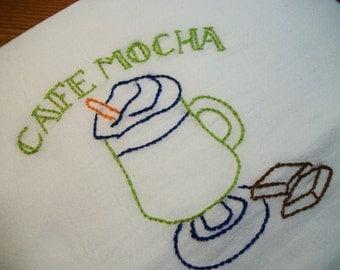 Dish Towel Java Break Design Cotton Flour Sack Tea Towel Cafe Mocha Hand Embroidered Dish Towel