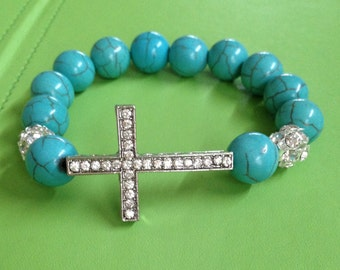 Crystal Cross and Turquoise Bracelet