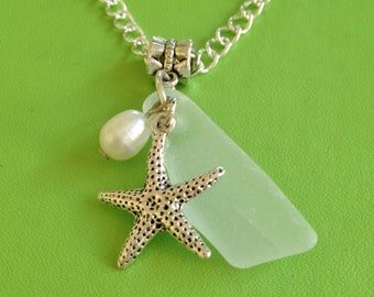 Bridal Seaglass and Starfish Necklace