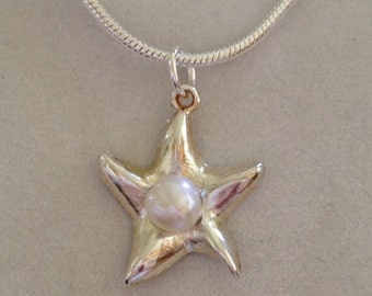 Silver Starfish and Pearl Necklace