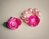 Bubblegum Bracelet Flower Hair Clip Set - Perfect Birthday Gift - Great Photo Prop