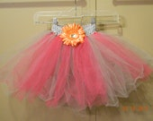 SALE Hot Pink and Silver Tutu Skirt with Removable Flower Hair Clip Embellishment