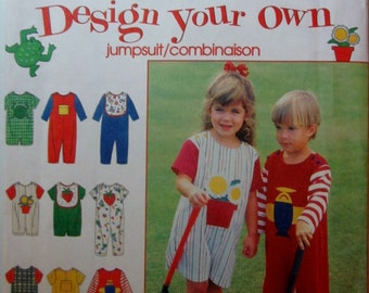 Simplicity 9525 Child's 90s Romper Jumpsuit  & Bib Sewing Pattern Chest; Size 2, 3, 4.  Breast 21 to 23