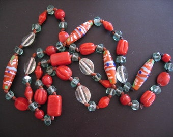 RED and AQUA Handmade GLASS Beads Knotted on Leather  Necklace Unique