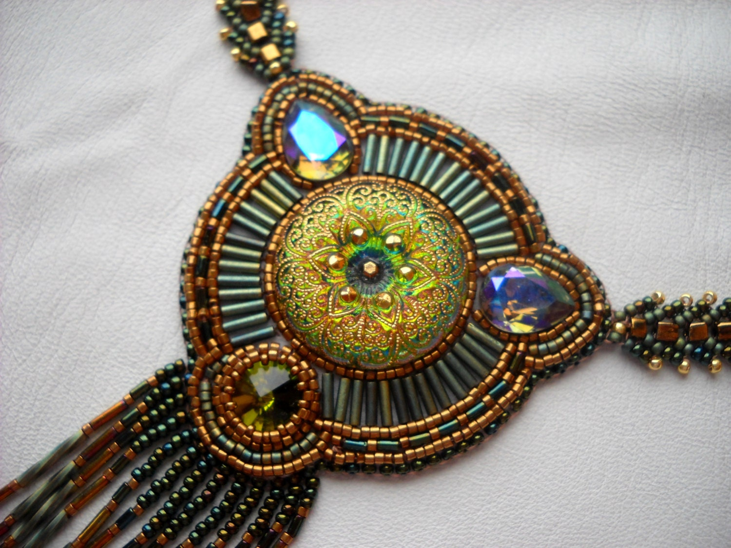 Bead embroidery necklace green gold olive embroidered
