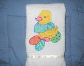 Ducks and Easter Eggs Easter Hand Towel for Bathroom or Kitchen