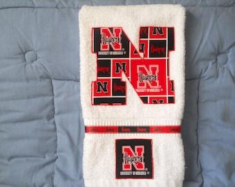 Nebraska Huskers Hand Towel Kitchen, Bathroom, Bar, Grill,Grad Gift