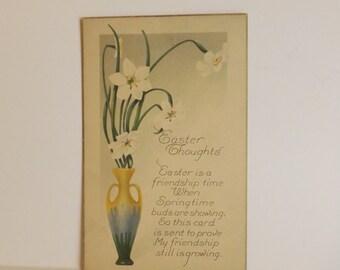 Antique Easter postcard Art Nouveau flower vase with daffodils and poem