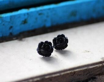 BLACK FRIDAY SPECIAL - Cool Black Rose Resin Earrings Stud - Offer different earrings post