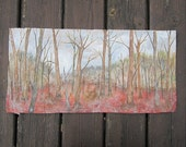 Winter Forest of Bare Trees Original Landscape Mixed Media Painting Art