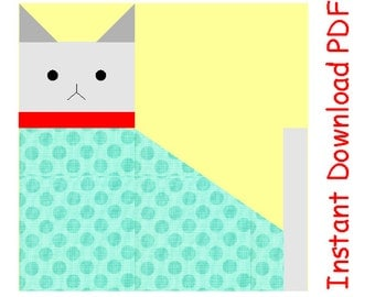 Cat primitive INSTANT DOWNLOAD kitten PDF quilt block paper pieced Sewing Pattern