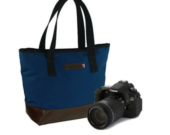"New Tote Camera Bag 19"" in  Slate Blue and Italian Caramel - Tuscan Travel Leather Camera Tote Bag - Hand"