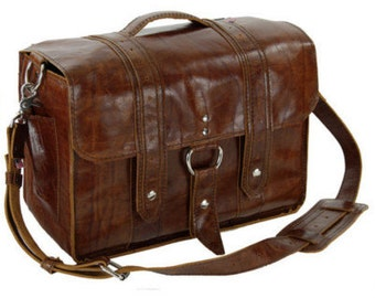 "14"" Caramel Newtown Italian leather Laptop Bag"