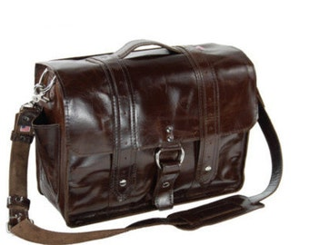 "15"" Molasses Newtown Italian leather Laptop Bag"