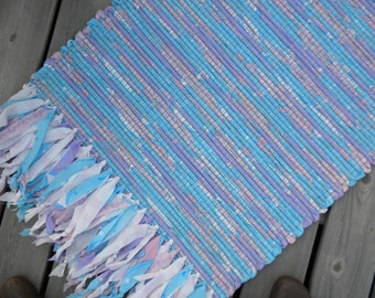 Handwoven Rag Rug, Pastel Pink and Blue with Rag Fringes