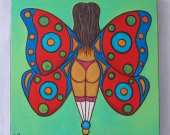 Butterfly, Original 20 X 20 Acrylic Painting on Canvas, Wall Decor, by Fig Jam Studio