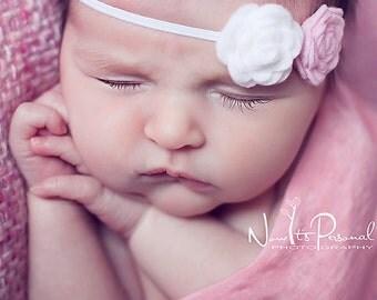 white and pink felt rosette headband - newborn infant baby girl headband - photo prop