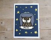 Evening Owl 5x7 Print with Stars in the Dark Night Sky