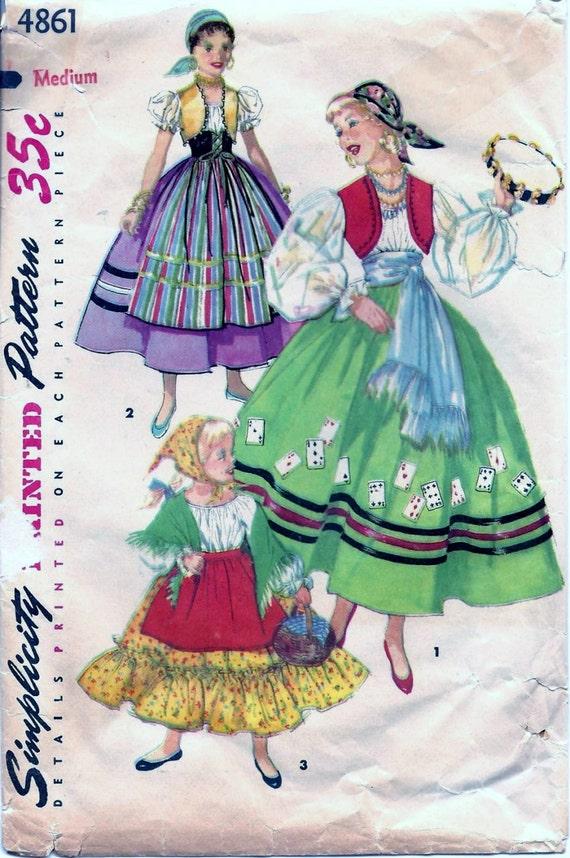 Vintage 50s Simplicity 4861 Gypsy Spanish & by vintagepatternstore