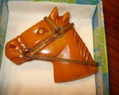 Rare BAKELITE Large, Marbled, Detailed Deep Butterscotch Hand-Carved HORSE HEAD Vintage 1920's/1930's Brooch/Pin - Fabulous - Treasury Item