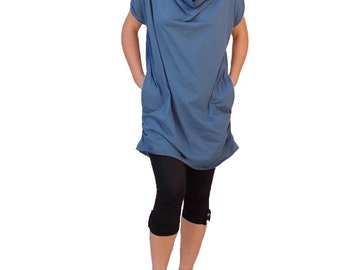 Blue turquoise dresses/Plus size tunics/women wrap tops  in jersey/loose cut blouses