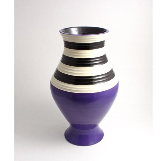 Beetlejuice Purple, Black and White Stripe Vase
