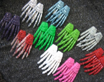 Pair of Colored SKELETON HAND Hair Clips -  Choose your colour