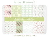 Shabby Chic Roses and Ribbons Digital Scrapbook Paper for Scrapbooking, Photographers, and Branding - INSTANT DOWNLOAD
