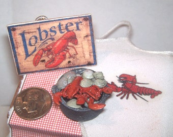 Dollhouse Miniature Seafood LOBSTER Pot with SIGN and APRON summer food fish clams shellfish