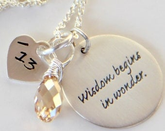 Gift For Teacher, Inspirational Sayings Jewelry, Silver Inspirational Word Pendant Necklace,  Yoga Jewelry, Wisdom Begins in Wonder